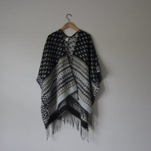 Aztec Black and Beige Poncho Scarf One Size